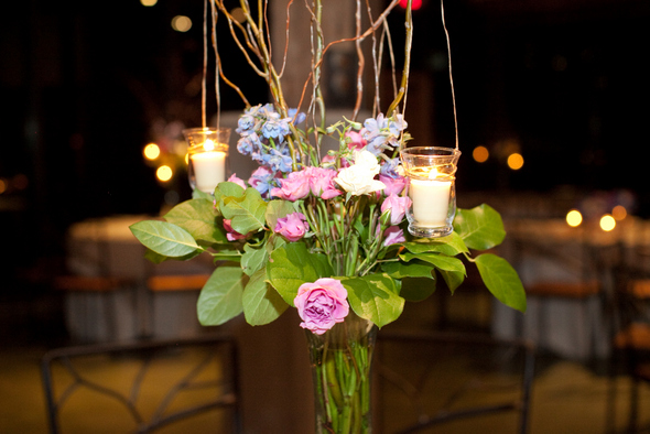 Blue Pink & White Reception Flowers