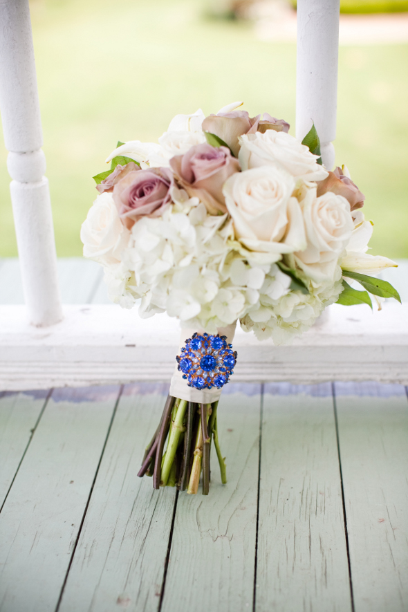 Bridal Bouquet with Blue Brooch
