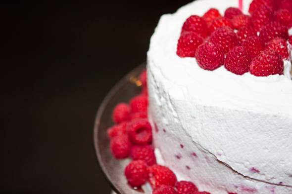 fresh raspberry topped wedding cake Small & Intimate Wedding in New York City