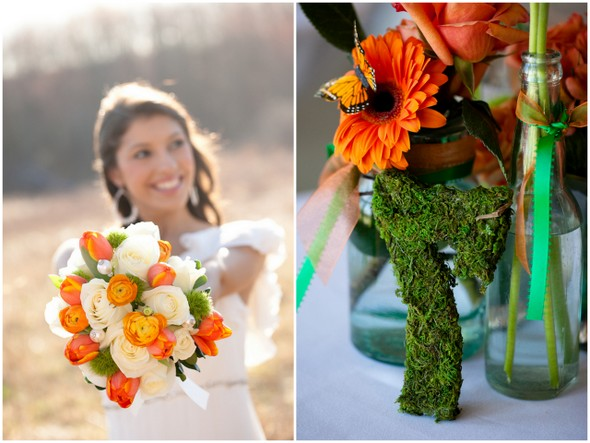 Green and Orange Wedding Bouquets
