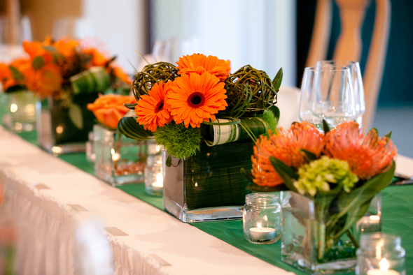 Green and Orange Wedding Centerpieces