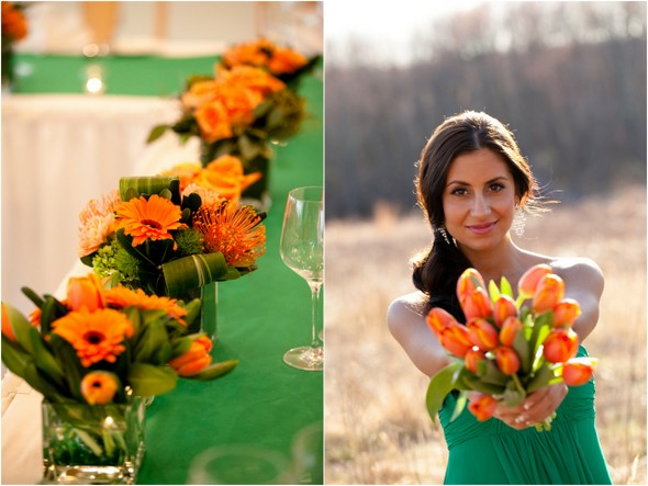Green and Orange Wedding Colors