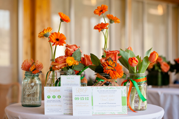 Green and Orange Wedding Invitations