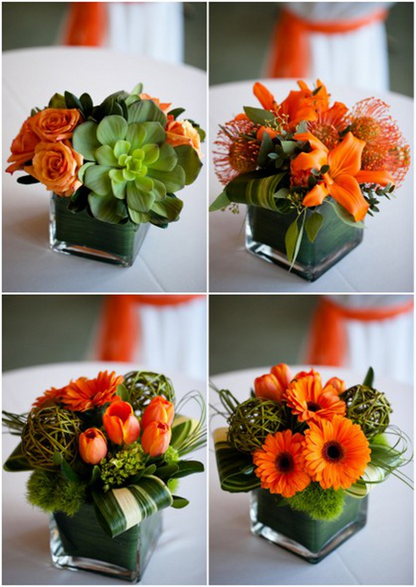 Green & Orange Wedding Centrepieces