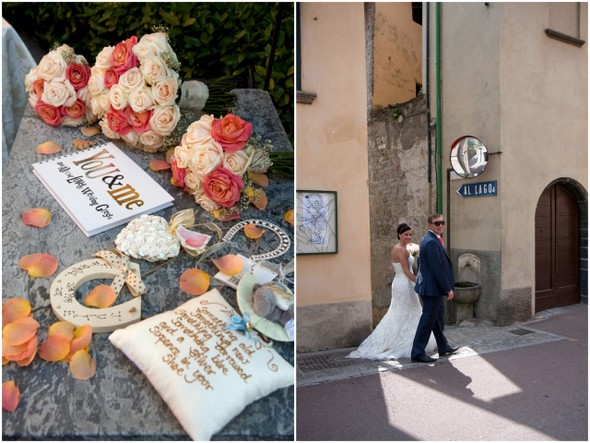 Lake Como Destination Wedding in Coral & White