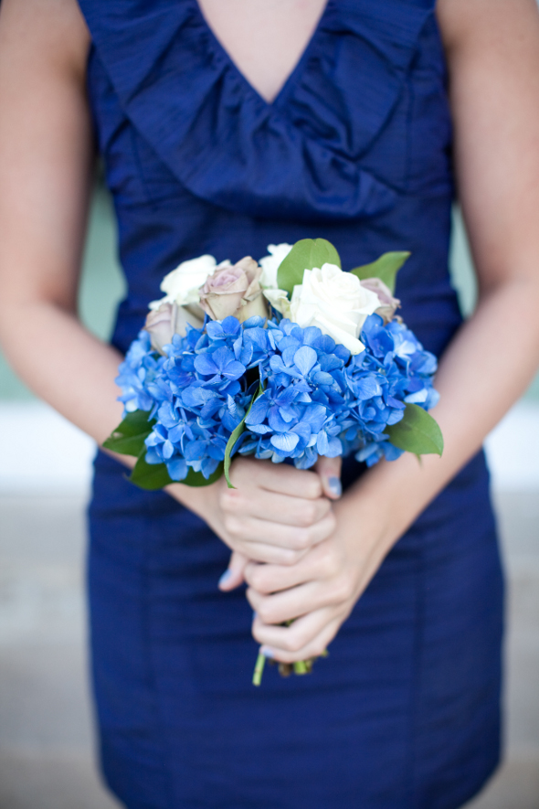 Navy Blue Bridesmaid with Hydrangea Bouquet