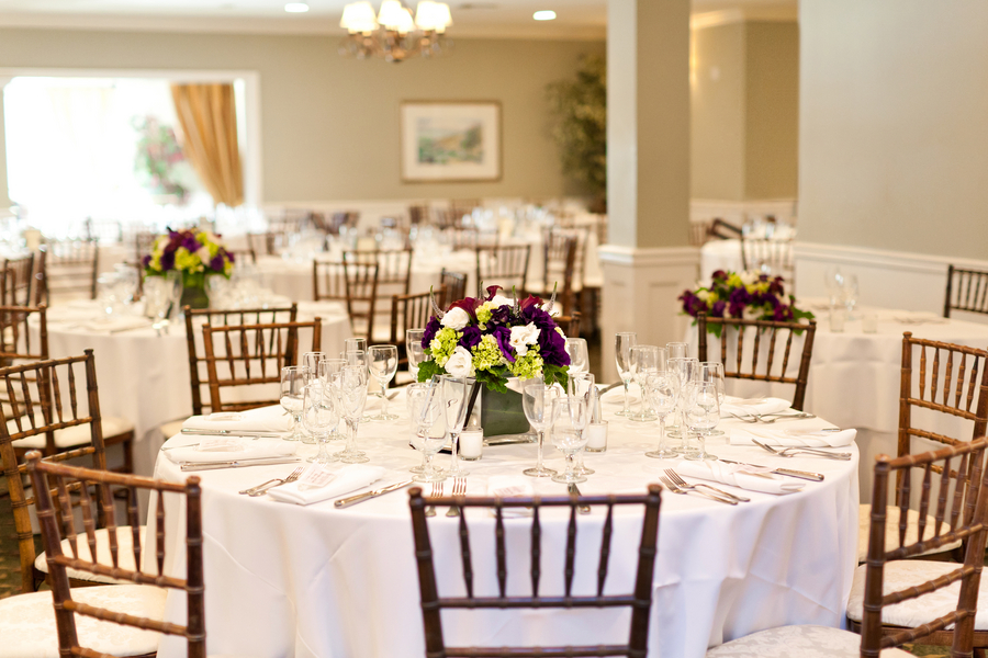 Purple Green and Yellow Wedding Reception