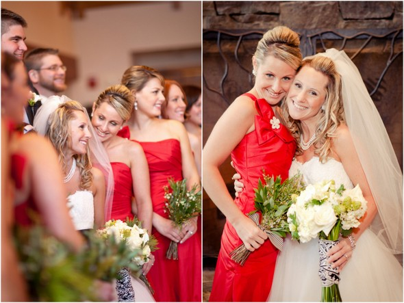 twins bridesmaids Winter Double Wedding for Twin Sisters