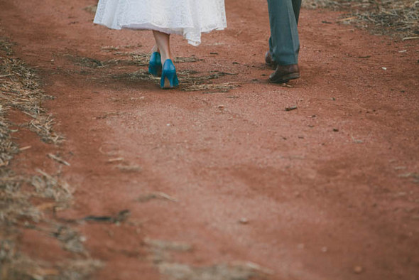 Vintage Country Bride with Blue Shoes