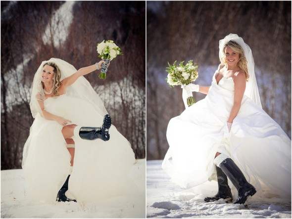 winter bride wellington boots Winter Double Wedding for Twin Sisters
