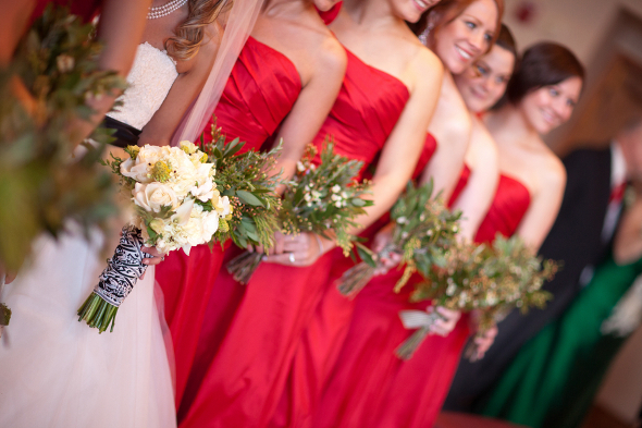 Winter Bridesmaids Red Dresses