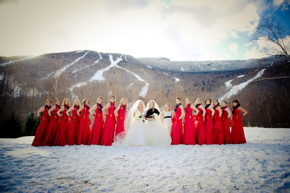 winter wedding red bridesmaid gowns Winter Double Wedding for Twin Sisters