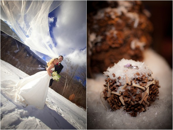 winter wedding ski lodge vermont Winter Double Wedding for Twin Sisters