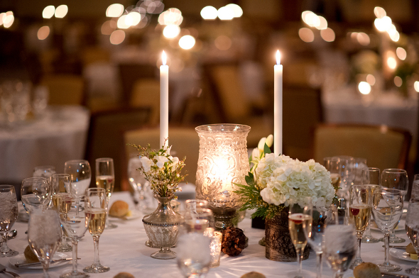 winter wedding tablescape Winter Double Wedding for Twin Sisters