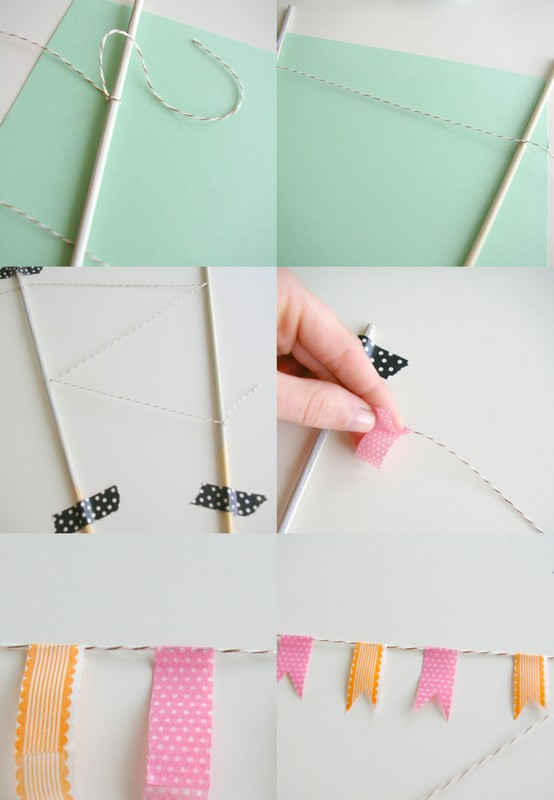 DIY cake topper bunting with washi tape