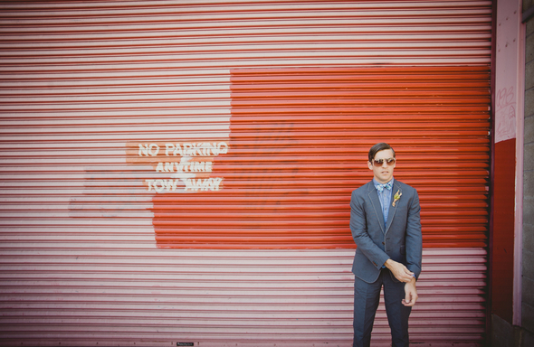 alternative groom red background Alternative Wedding in San Francisco by Harper Point Photography