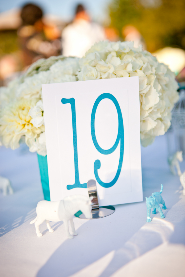 Aqua Blue and White Wedding Table Numbers