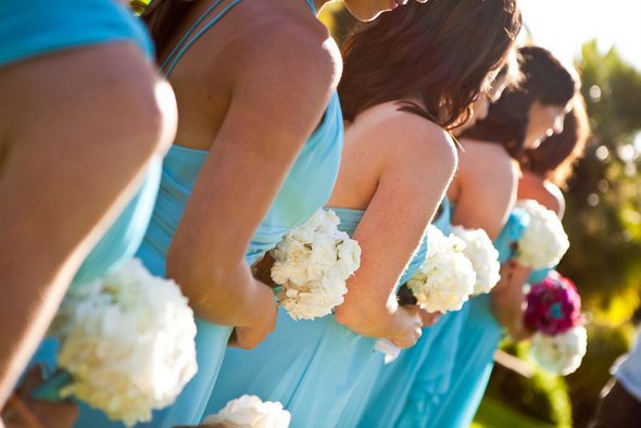 Aqua Bridesmaids with White Bouquet