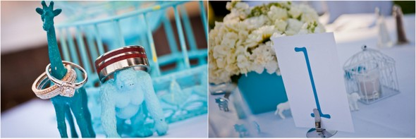blue white zoo wedding details Colourful Zoo Wedding by Jihan Abdalla Photography