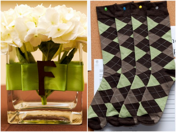Chocolate Brown and Apple Green Wedding Details