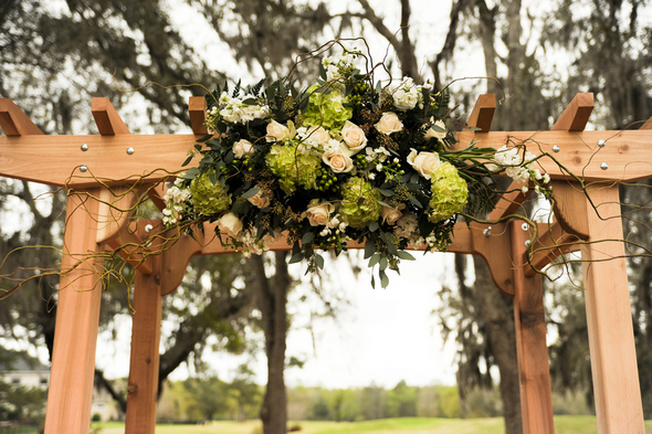 Green and Brown Wedding Ceremony Decor