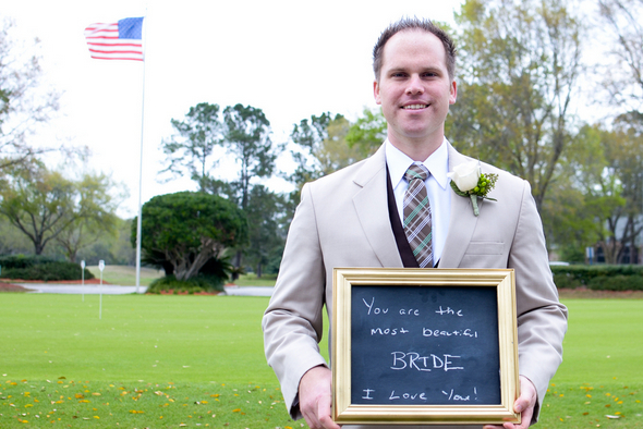 Groom with Chalkboard Note for Bride