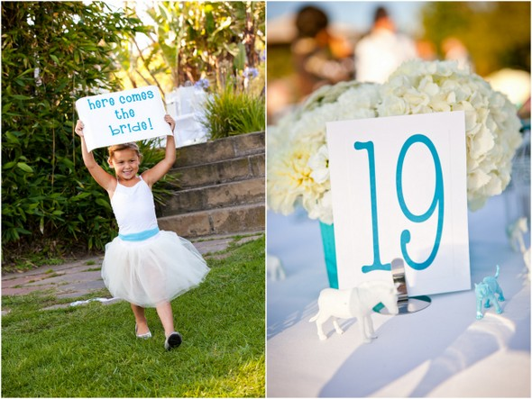 here comes the bride sign blue white Colourful Zoo Wedding by Jihan Abdalla Photography