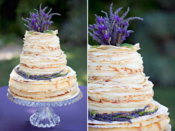 Lavender Crepe Wedding Cake