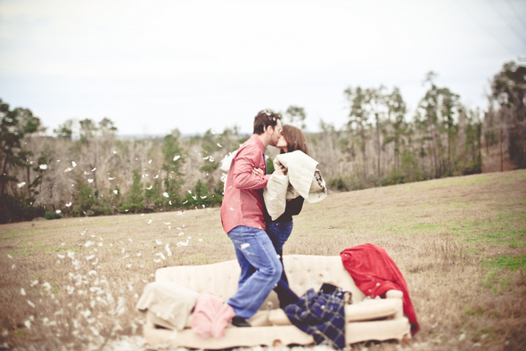 Pillow Fight Engagement Pictures