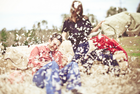 Pillow Fight Engagement Photos