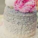 {Cake Inspiration} Ruffled Wedding Cake in Pink & Gray