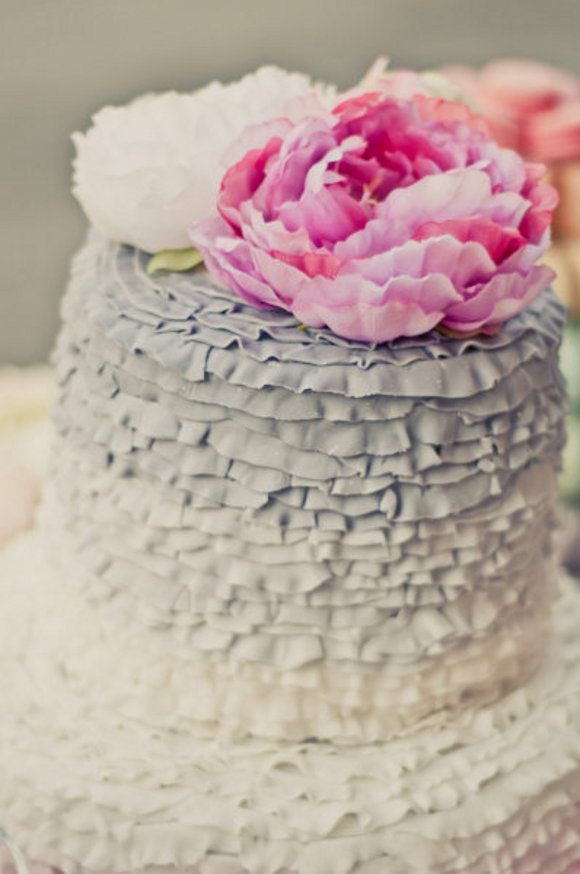 pink and gray ruffled wedding cake {Cake Inspiration} Ruffled Wedding Cake in Pink & Gray