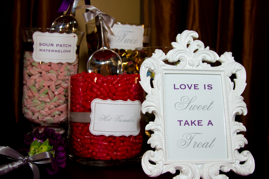 Purple and Grey Candy Buffet