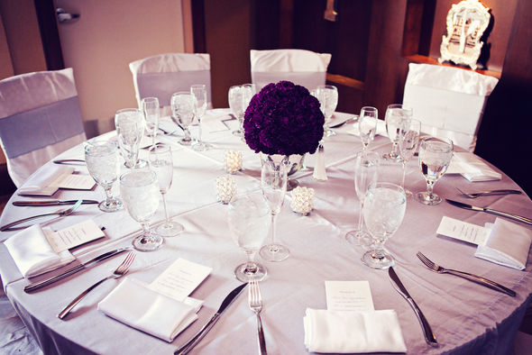 Purple and Grey Wedding Table