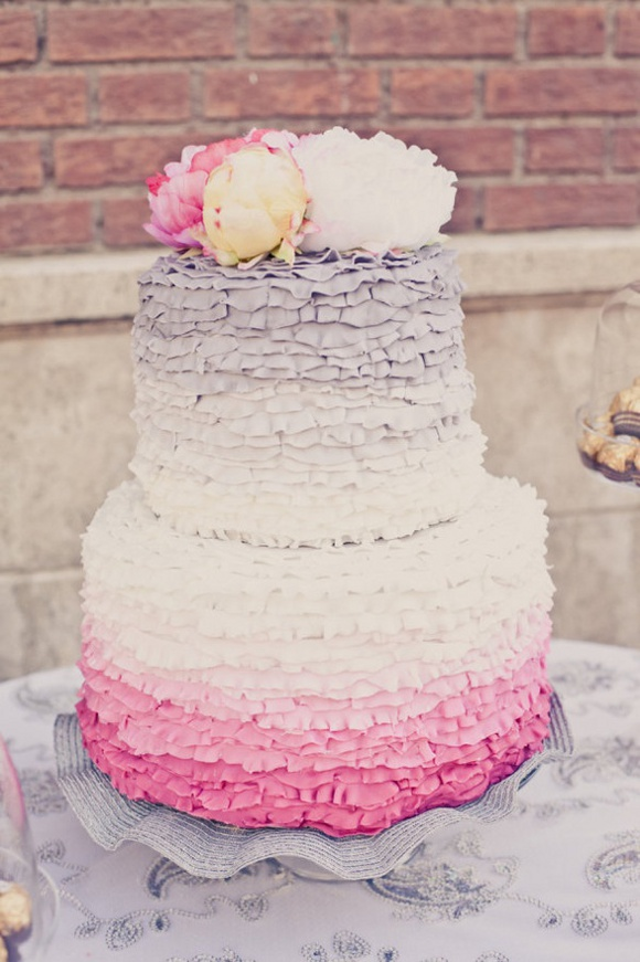 ruffled wedding cake {Cake Inspiration} Ruffled Wedding Cake in Pink & Gray