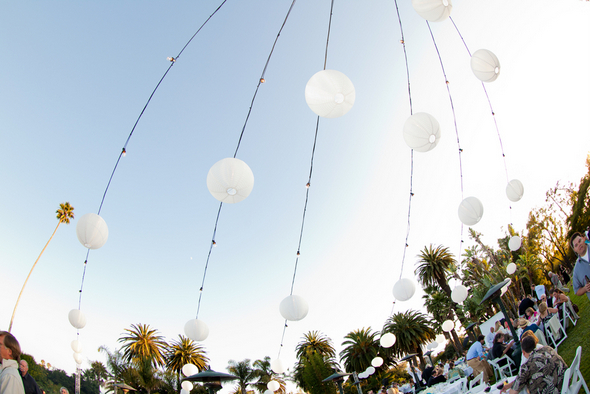 White Outdoor Lanterns at Wedding