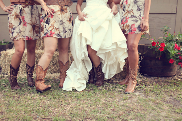 bridesmaids with cowgirl boots Rustic Backyard Wedding by Adria Peaden Photography