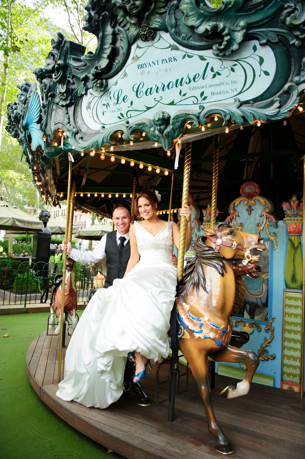 bryant park carousel wedding photos Midtown Loft and Terrace New York Wedding by Off BEET Productions