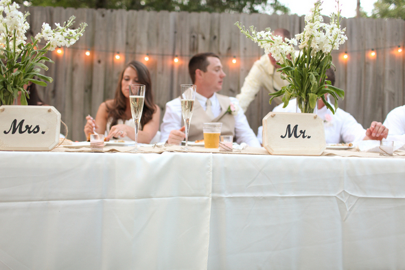 casual backyard wedding tablescape Rustic Backyard Wedding by Adria Peaden Photography