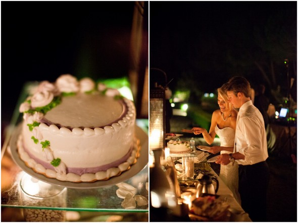 creme mauve single tier wedding cake Napa Valley Private Estate Wedding by Luke Snyder Studio