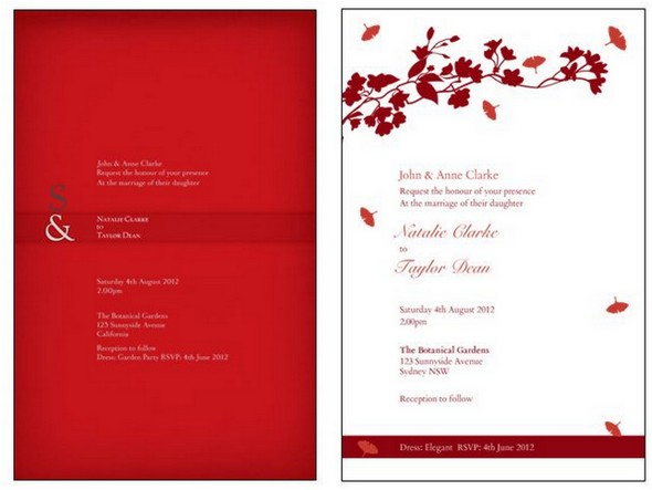Glamorous Red & White Invitations