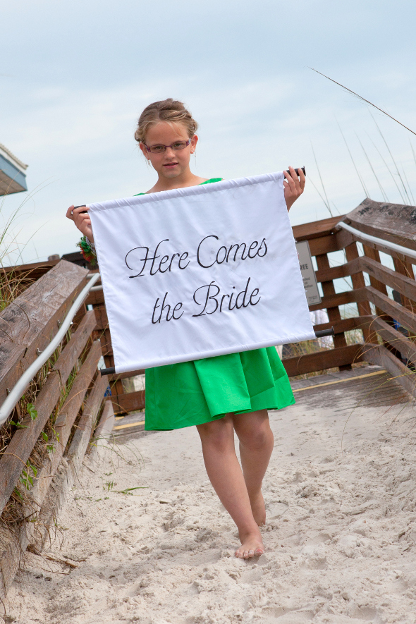 Here Comes The Bride Sign for Beach Wedding