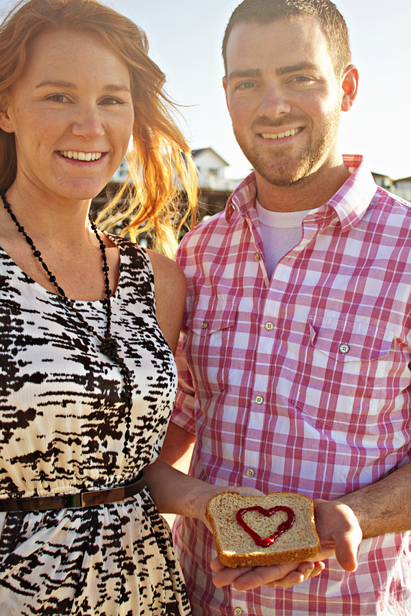 jelly love heart on bread San Diego Beach Engagement Session with Peanut Butter & Jelly!
