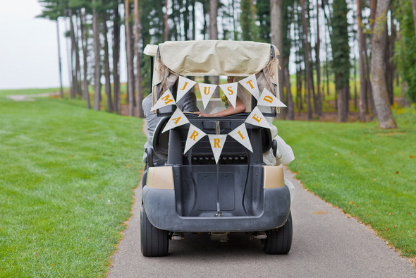 Just Married Sign on Golf Buggy