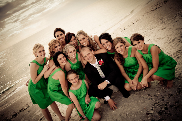 Kelly Green and Black Wedding