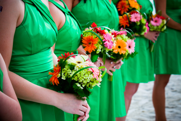 Kelly Green Bridesmaids with Gerbera Bouquets