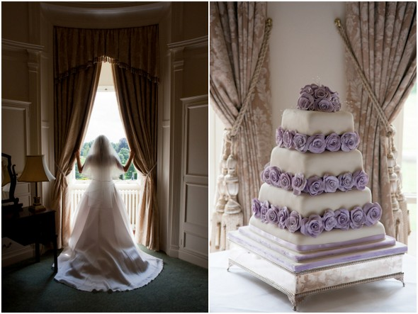 Mauve and White Wedding Cake