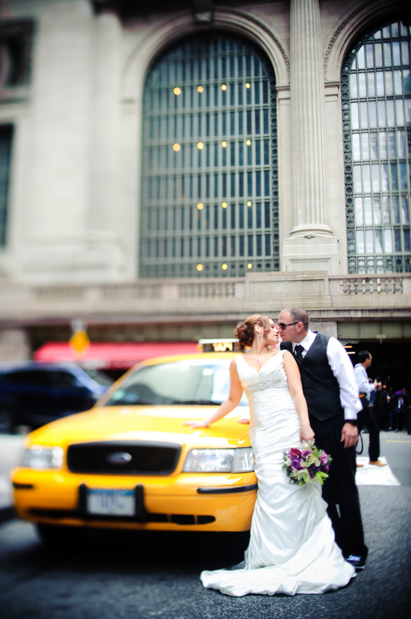 new york city wedding taxi Midtown Loft and Terrace New York Wedding by Off BEET Productions