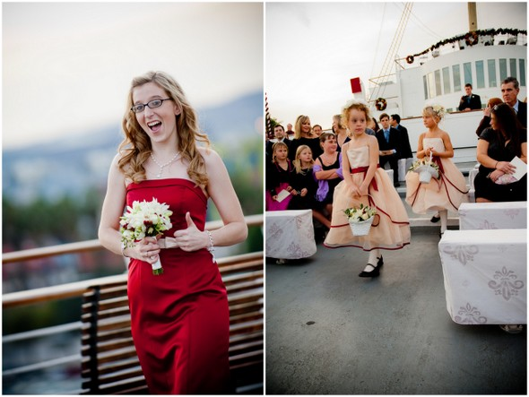 outdoor ship deck wedding Long Beach Wedding on the Queen Mary Ship