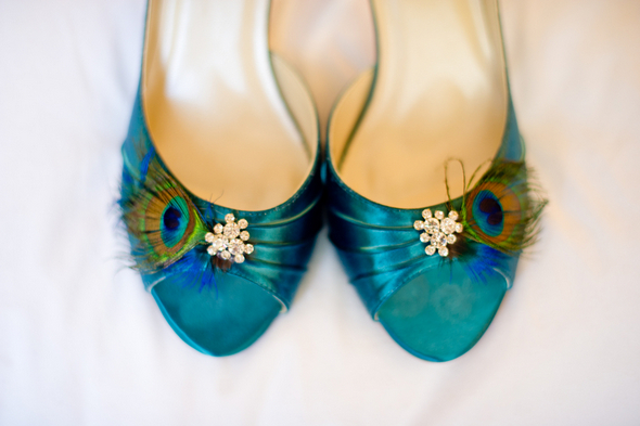 peacock bridal shoes Midtown Loft and Terrace New York Wedding by Off BEET Productions